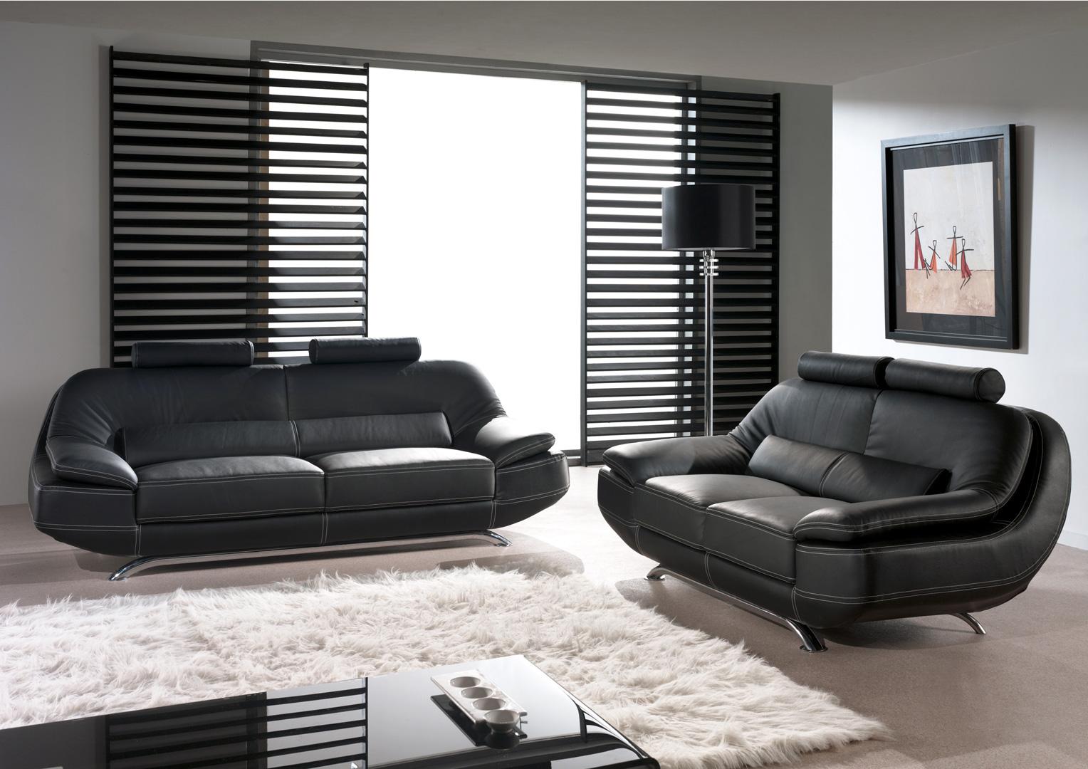 Canapé fixe 2 places en cuir MASSO