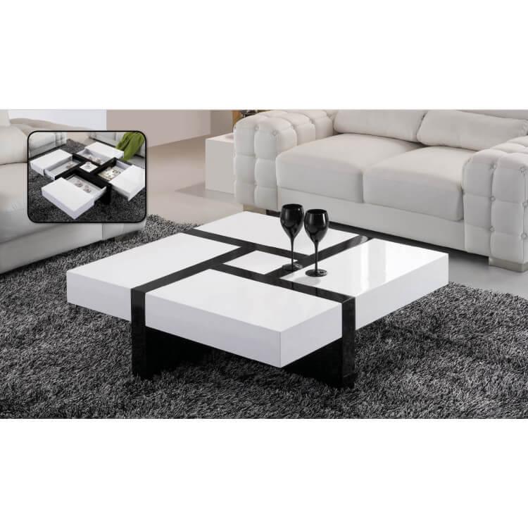 Table basse design blanche et noire Graphix