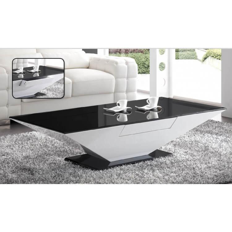 Table basse design blanche et noire Trapèze