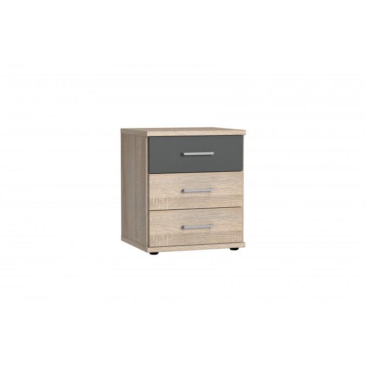 Meuble de rangement contemporain 3 tiroirs décor chêne/lave Brenda