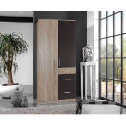 Armoire adulte contemporaine 2 portes/3 tiroirs décor chêne/lave Brenda
