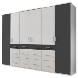 Armoire adulte contemporaine 270 cm blanc/graphite Amanda