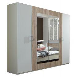 Armoire adulte 4 portes blanc/chêne clair Fabio