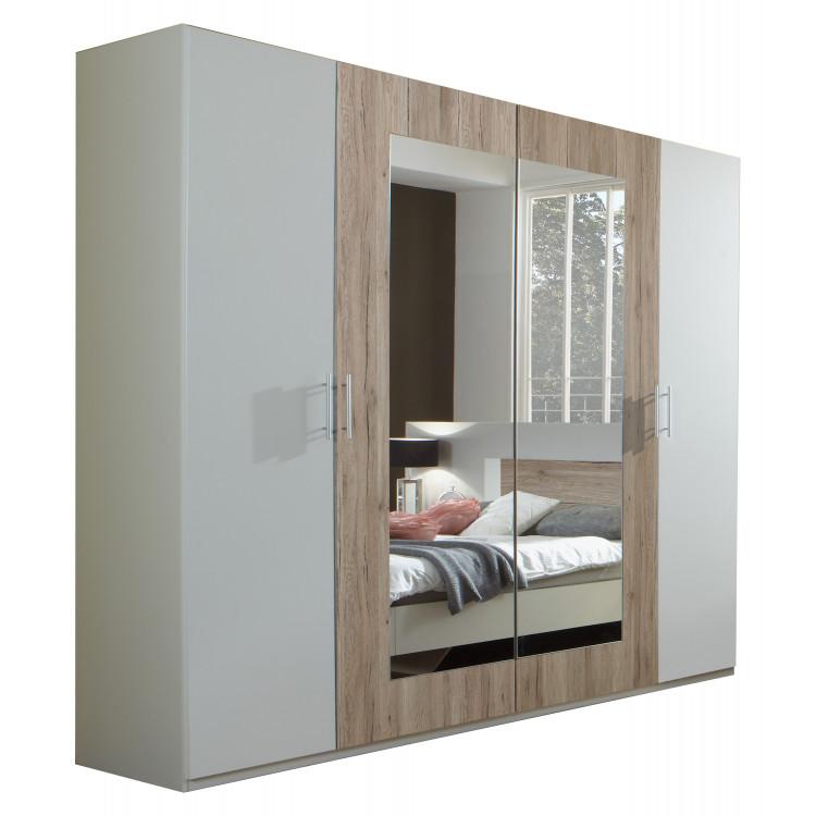 Armoire adulte 4 portes blanc/chêne clair Fabio | Matelpro