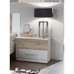 Chevet contemporain blanc/chêne clair Fabio