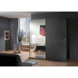 Armoire adulte design 2 portes coloris graphite Davina