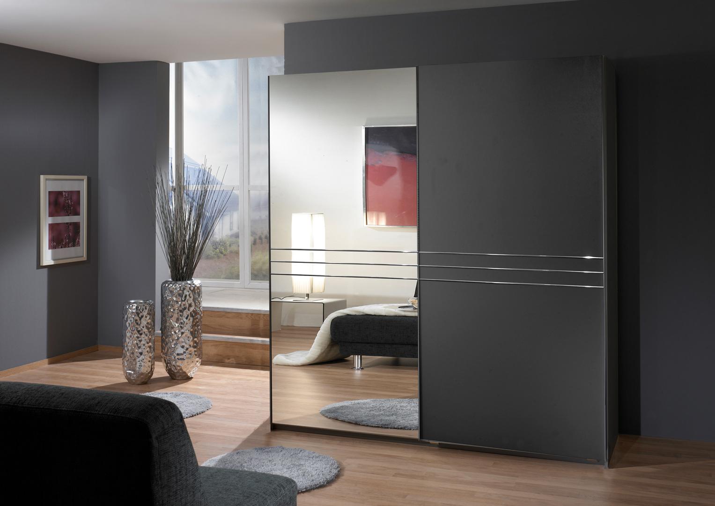 Armoire adulte design 2 portes coloris graphite Davina
