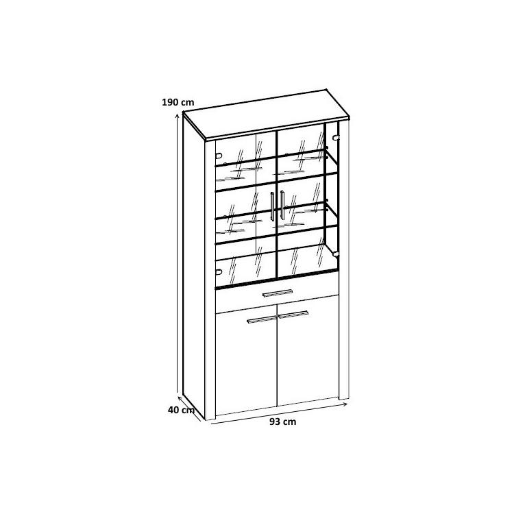 Vitrine contemporaine 4 portes/1 tiroir chêne sonoma/blanc laqué Sylvano II