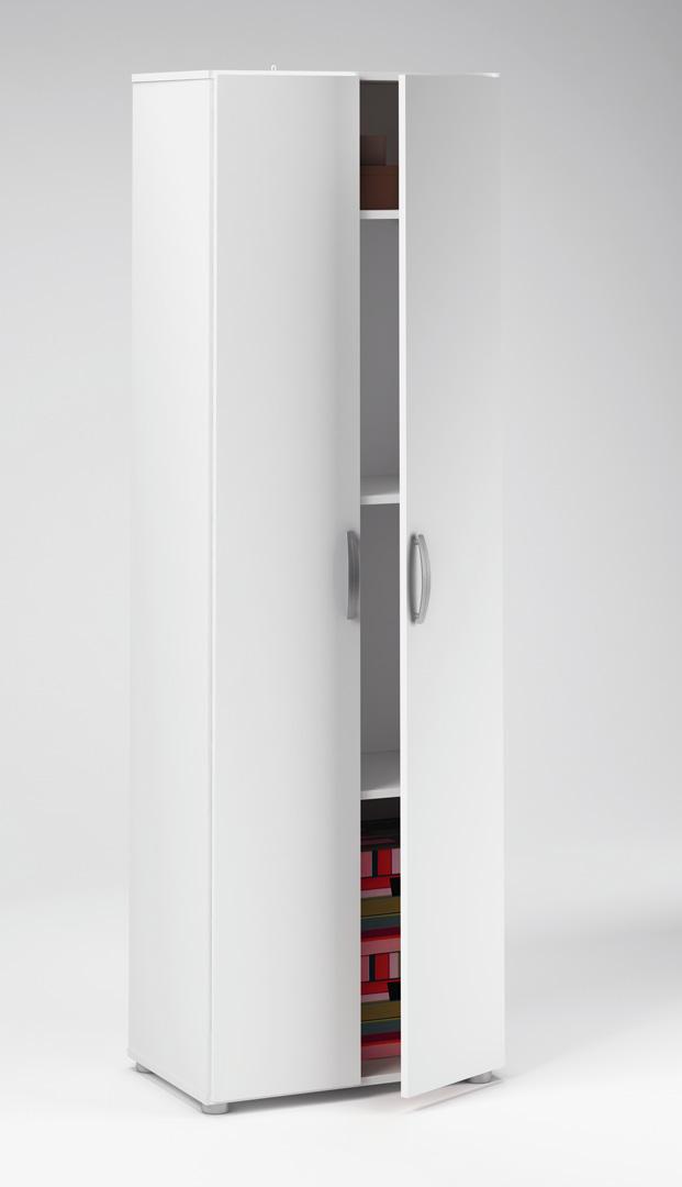 Armoire de rangement contemporaine 2 portes blanche Curly