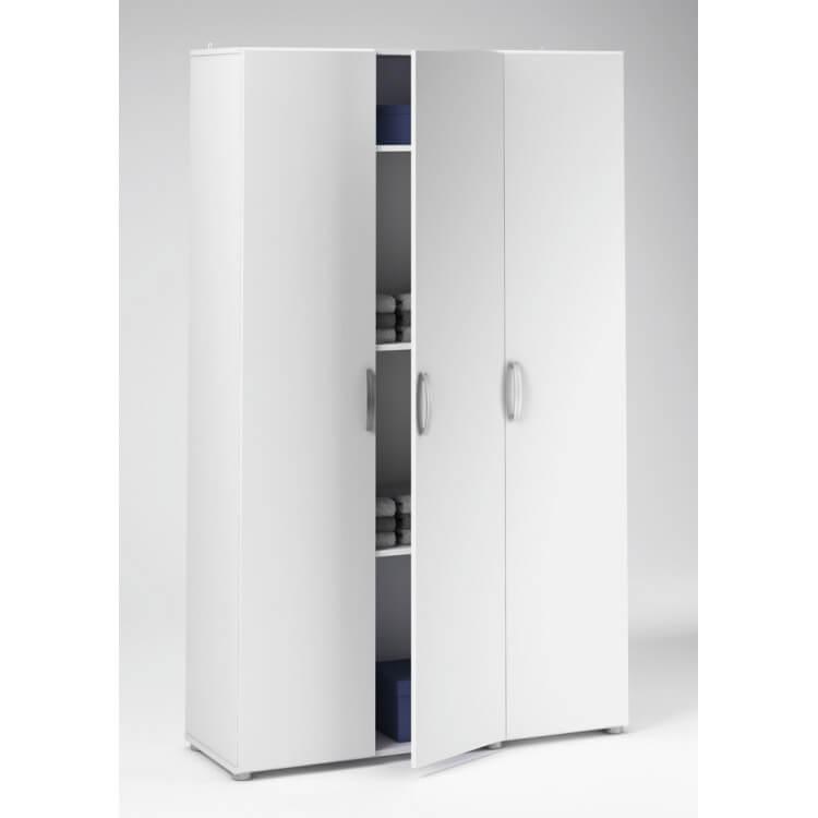 Armoire de rangement 3 portes contemporaine blanche Curly
