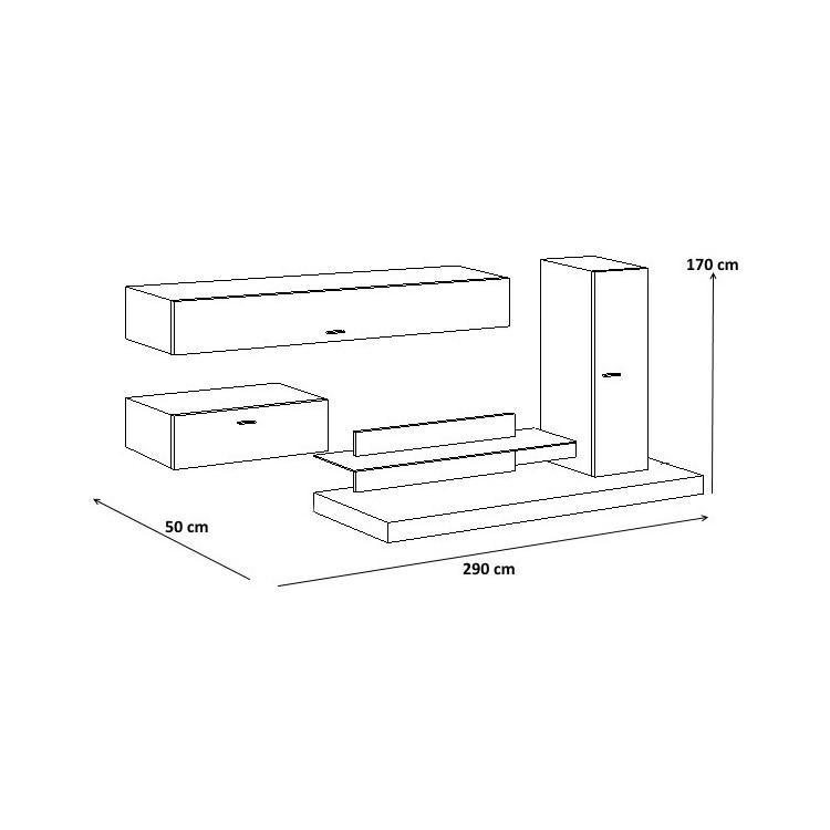 composition tv murale design blanc laqu gris mat osaka matelpro. Black Bedroom Furniture Sets. Home Design Ideas