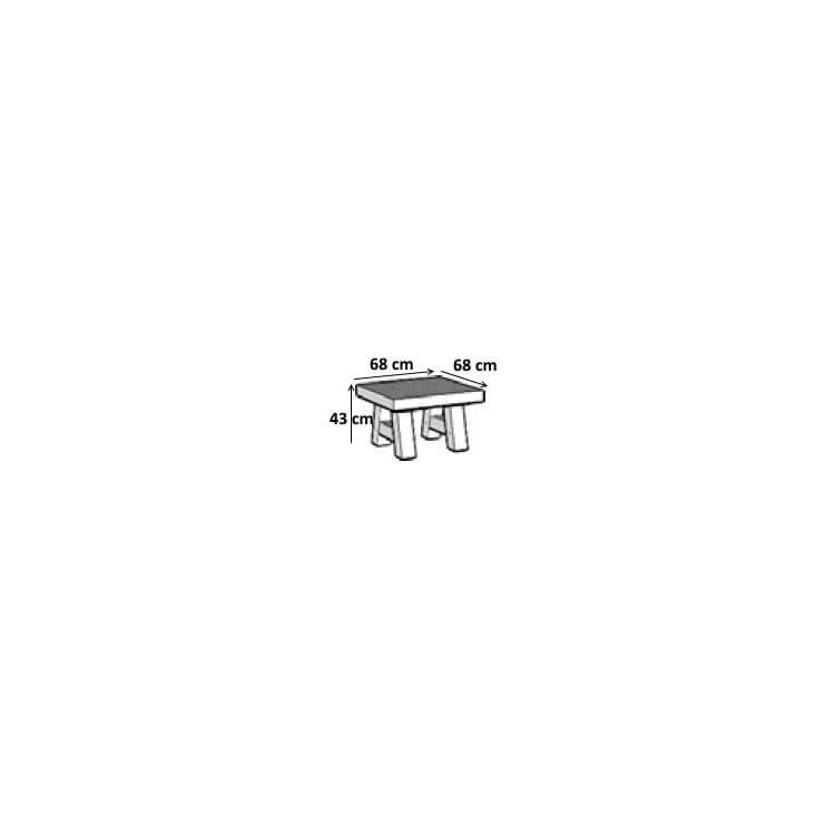 Table basse contemporaine carrée coloris vieux chêne/anthracite Luciano II