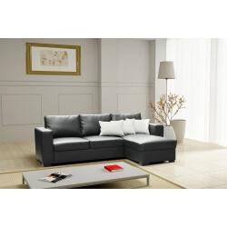 Canapé d'angle convertible contemporain en PU noir Joana
