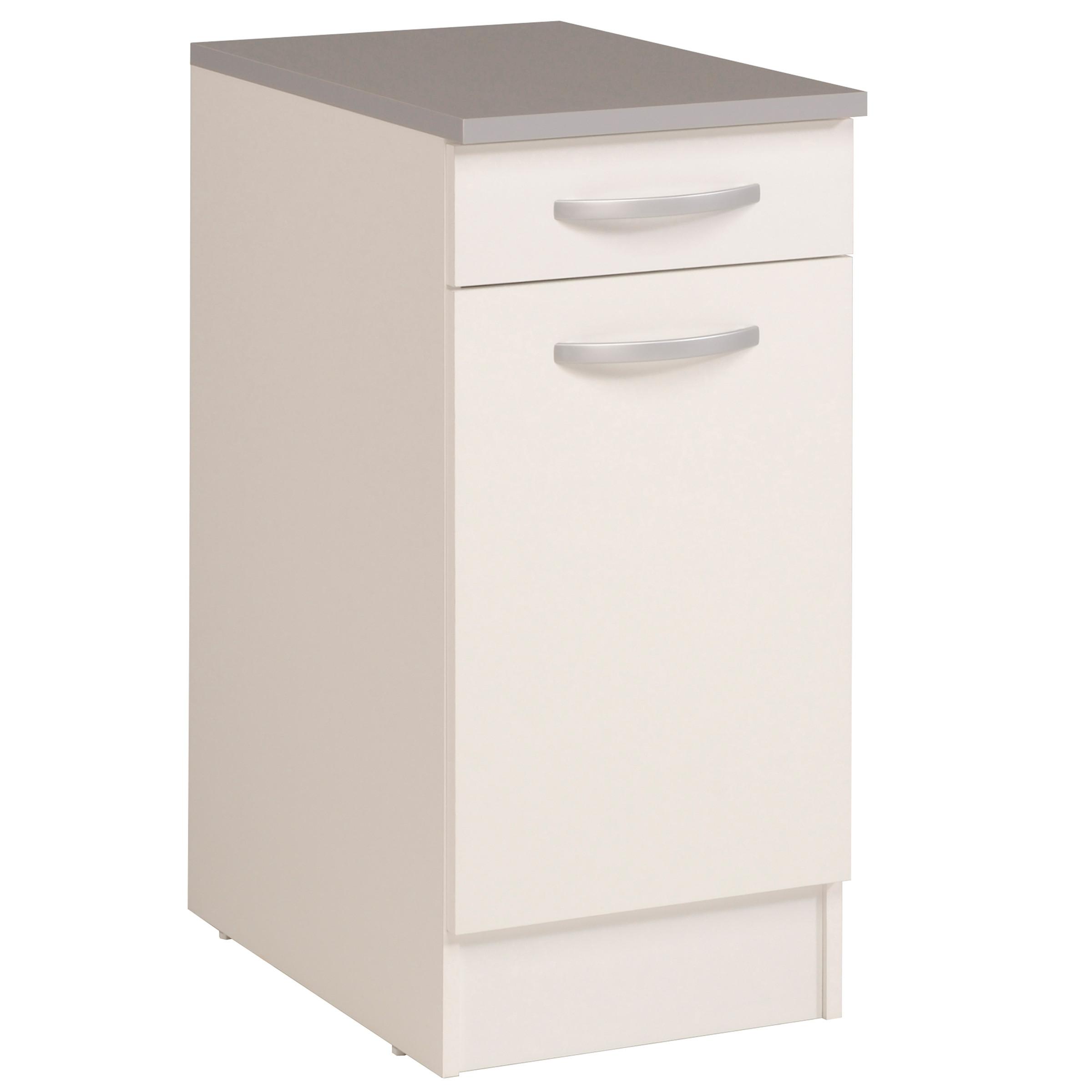 Meuble bas de cuisine contemporain 40 cm 1 porte/1 tiroir blanc brillant Bianco