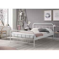 Lit adulte contemporain en métal coloris blanc Army