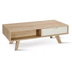 Table basse contemporaine en bois chêne clair/blanc Benoît