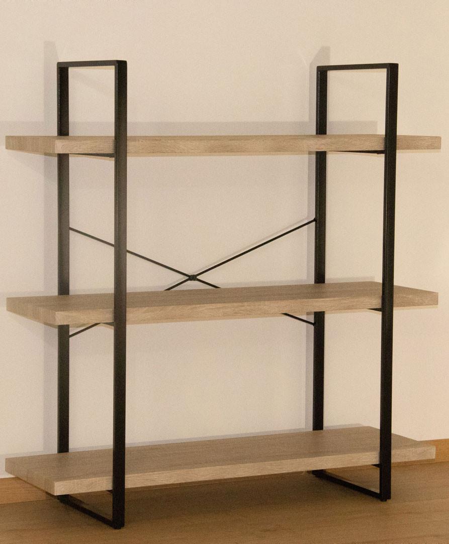 Etagère en métal noir et bois 3 étages Chelby