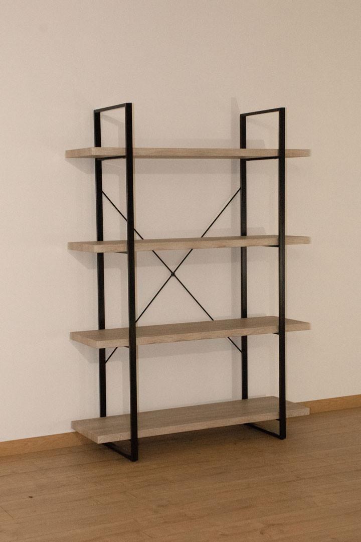 Etagère en métal noir et bois 4 étages Chelby