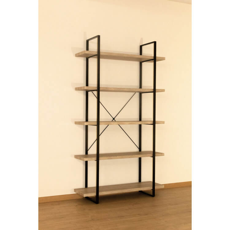 Etagère en métal noir et bois 5 étages Chelby