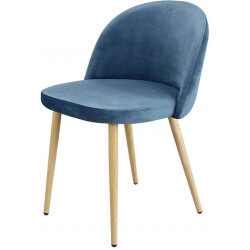 Chaise contemporaine en bois et velours bleu (lot de 4) Mathilde