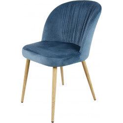 Chaise contemporaine en bois et velours bleu (lot de 4) Mathilde II