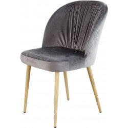 Chaise contemporaine en bois et velours gris (lot de 4) Mathilde II