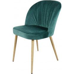 Chaise contemporaine en bois et velours vert (lot de 4) Mathilde II