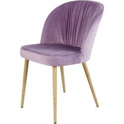 Chaise contemporaine en bois et velours rose (lot de 4) Mathilde II