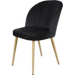 Chaise contemporaine en bois et velours noir (lot de 4) Mathilde II