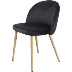 Chaise contemporaine en bois et velours noir (lot de 4) Mathilde