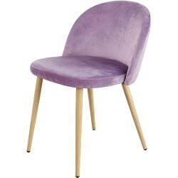 Chaise contemporaine en bois et velours rose (lot de 4) Mathilde
