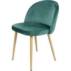 Chaise contemporaine en bois et velours vert (lot de 4) Mathilde