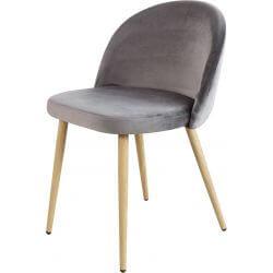 Chaise contemporaine en bois et velours gris (lot de 4) Mathilde