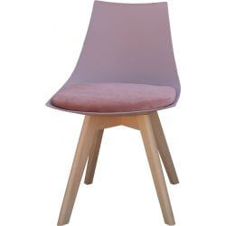 Chaise contemporaine en bois et PU rose (lot de 2) Marine