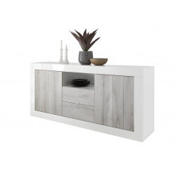 Buffet/bahut design 2 portes/2 tiroirs blanc laqué/pin blanc Elmira