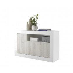Buffet/bahut design 3 portes blanc laqué/pin blanc Elmira