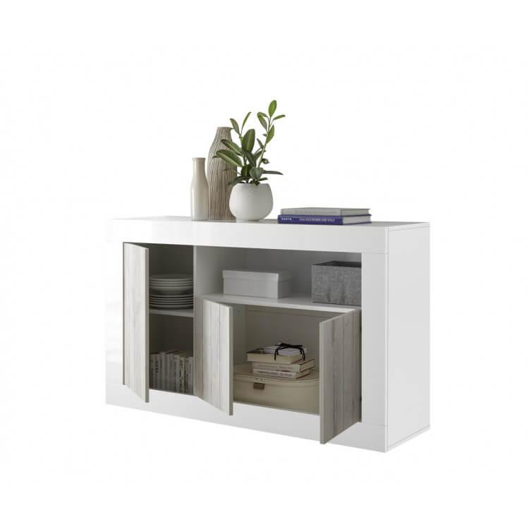 buffet bahut design 3 portes blanc laqu pin blanc elmira matelpro. Black Bedroom Furniture Sets. Home Design Ideas