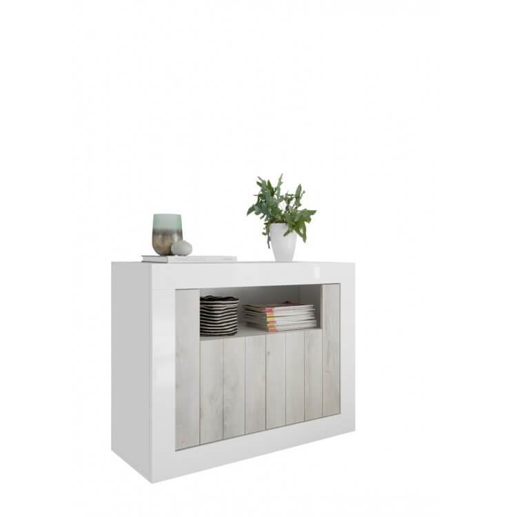 Buffet/bahut design 2 portes blanc laqué/pin blanc Elmira