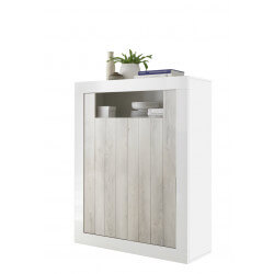 Meuble de rangement design blanc laqué/pin blanc Elmira