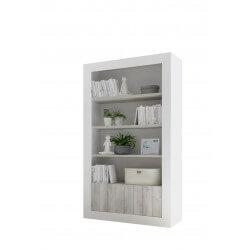 Bibliothèque design blanc laqué/pin blanc Elmira