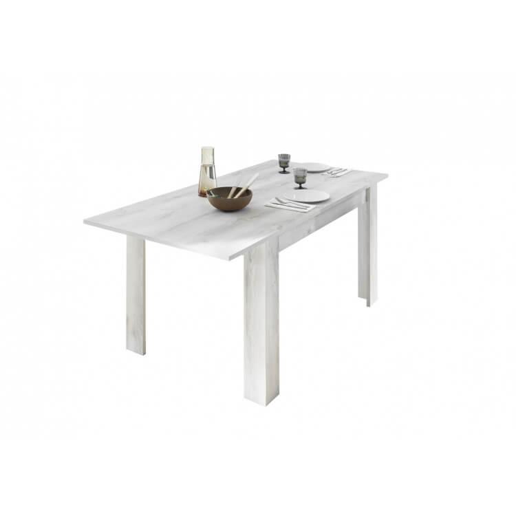Table de salle à manger extensible design coloris pin blanc Elmira