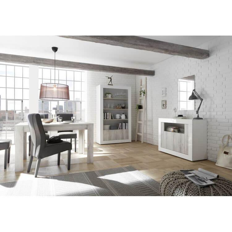 buffet bahut design 2 portes blanc laqu pin blanc elmira matelpro. Black Bedroom Furniture Sets. Home Design Ideas