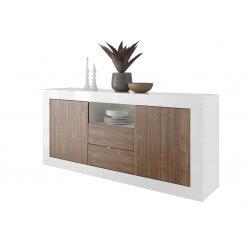 Buffet/bahut design 2 portes/2 tiroirs blanc laqué/noyer foncé Luciana