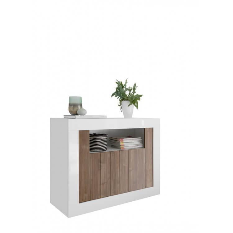 Buffet/bahut design 2 portes blanc laqué/noyer foncé Luciana