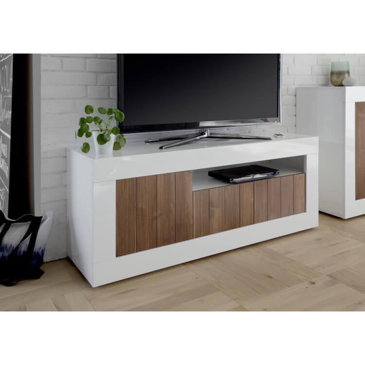Meuble TV design blanc laqué/noyer foncé Luciana