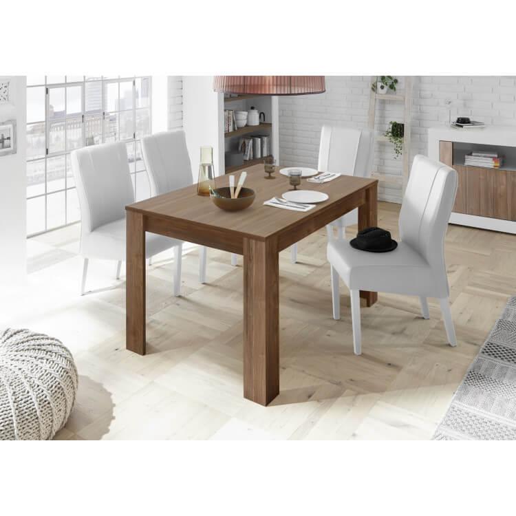 Table de salle à manger design coloris noyer foncé Luciana