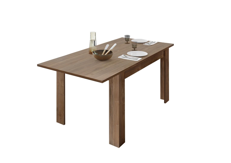 Table de salle à manger extensible design coloris noyer foncé Luciana