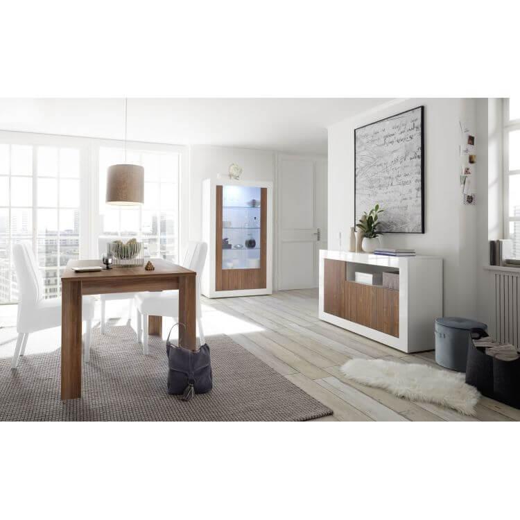 Buffet/bahut design 3 portes blanc laqué/noyer foncé Luciana