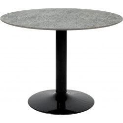 Table basse contemporaine en bois et métal noir Ø 105 cm Jeff
