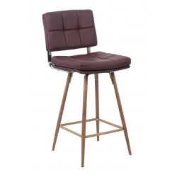 Tabouret de bar design en PU bordeaux (lot de 2) Alexis